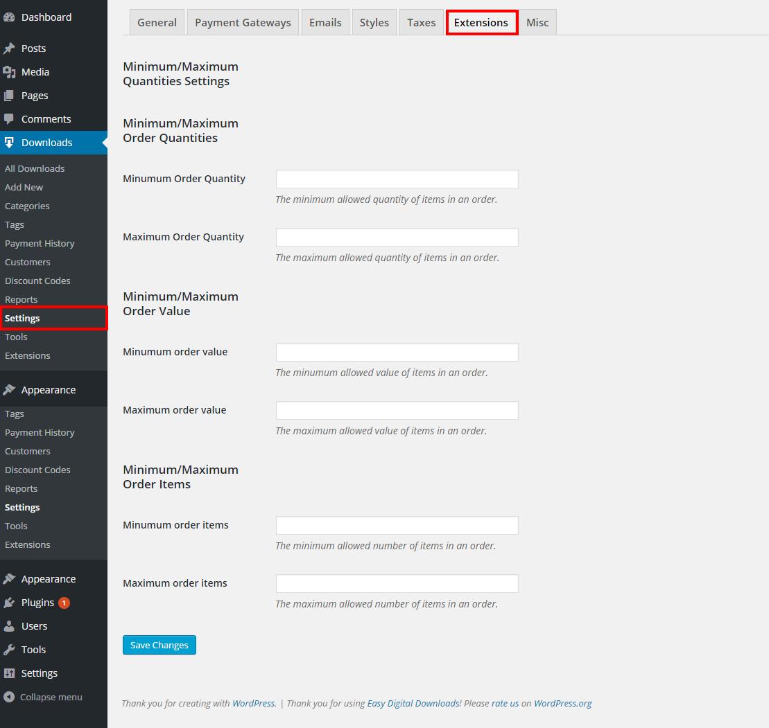 Easy Digital Downloads - Minimum/Maximum Quantities - 1