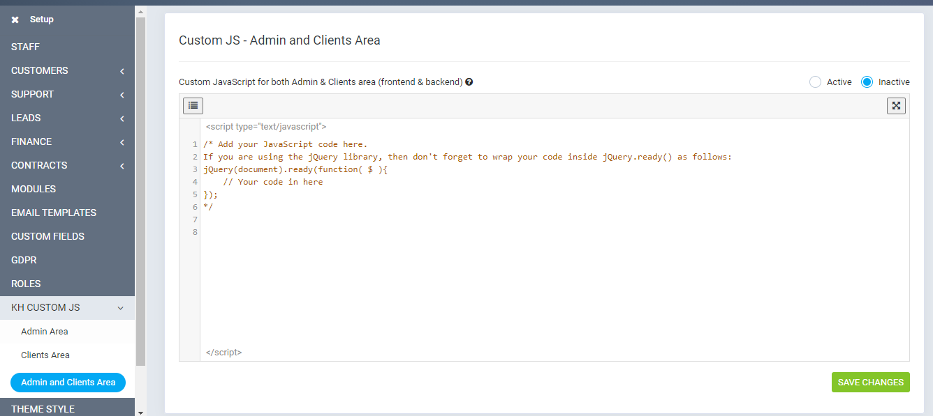 Add JavaScript to both admin and clients area