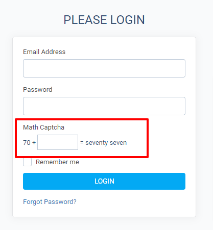 Math Captcha on Client Login page (frontend)