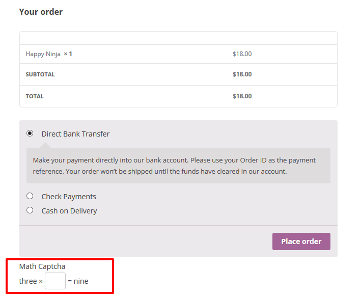 Math Captcha for WooCommerce - 8